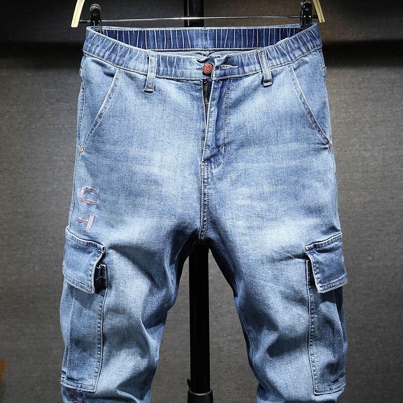 Large Size MEN'S Wear Summer New Style Popular Brand Capri Beam Leg Jeans Fashion Embroidered Workwear Cowboy Plus-sized