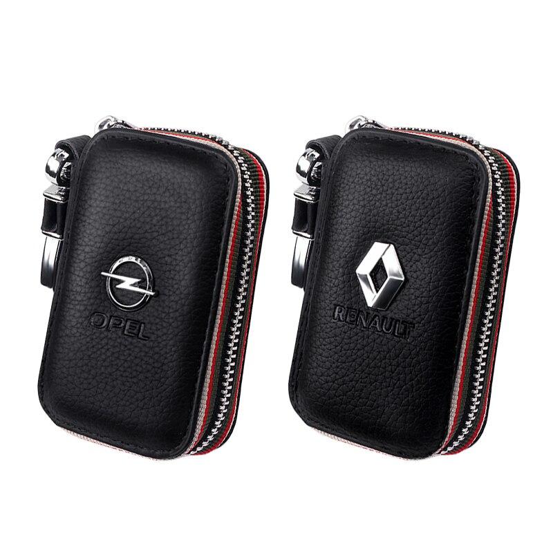 Oryginalna skóra bydlęca mężczyźni i kobiety torba na klucze samochodowe portfel etui na klucze moda marka dla Renault Opel samochód terenowy torba na akcesoria organizator