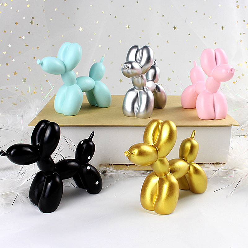 Cute Small Balloon Dog Resin Crafts Sculpture Gifts Fashion Home Decorations Party Dessert Desktop Ornament 5 Colors A270