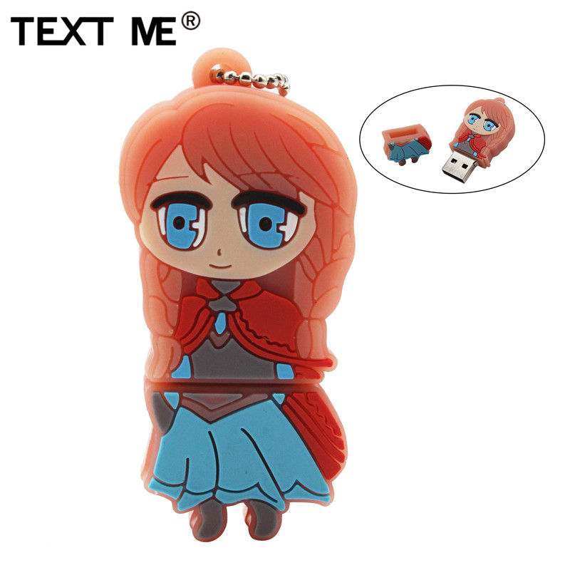 TEXT ME Beautiful Princess Anna Model Pendrive  Usb2.0 4GB 8GB 16GB 32GB  Pen Drive USB Flash Drive Creative Pendrive 64GB