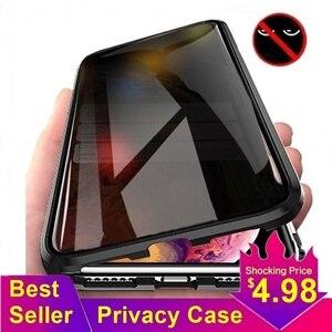 Tongdaytech магнитное закаленное стекло конфиденциальный металлический чехол для телефона Coque 360 магнит антишпионский чехол для Iphone XR XS X 11 Pro MAX 8 7 6