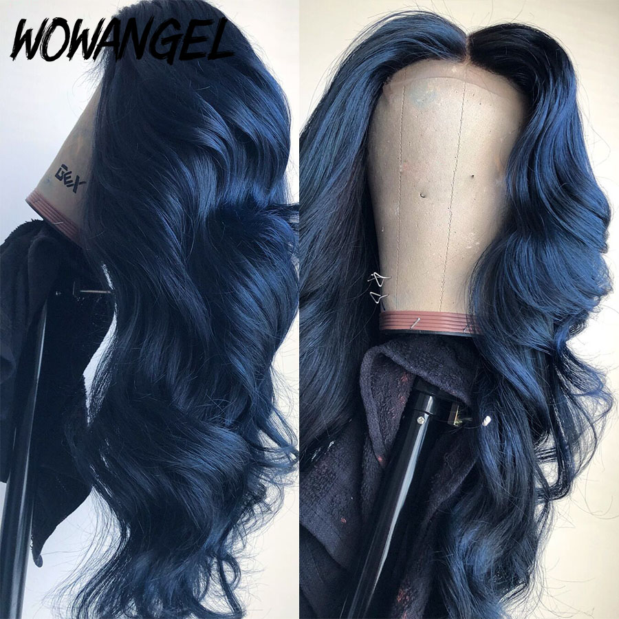 Wowangel 13X6 Lace Front Human Hair Blue Colored Wigs 180 Density Pre-plucked Wigs With Baby Hair Remy Brazilian Body Wave Wig