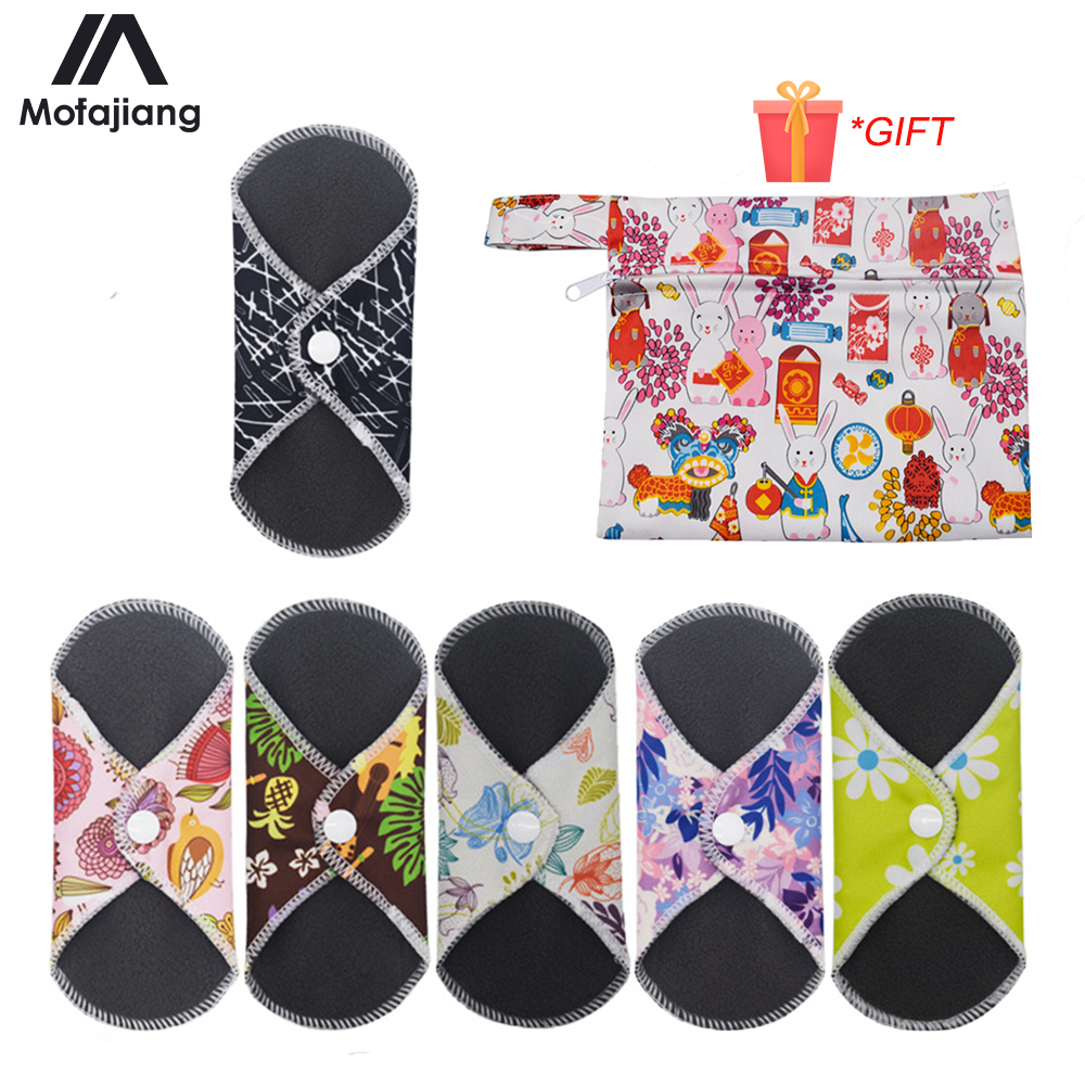 6Pcs/Set SanitaryTowel Reusable Cotton Pads Menstrual Cloth Soft Towel Washable Waterproof Panty Liners Feminine Hygiene Pads