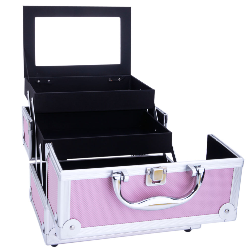 Women Aluminum Makeup Train Case Jewelry Box Cosmetic Organizer With Mirror For Travel