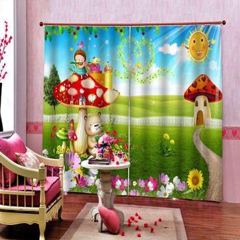 Funny Cartoon Wonderland Mushroom House Kids room Window Curtain Indoor Decor set Customizable any size