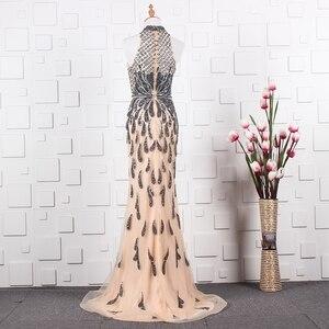 Image 2 - YY020 Churlya Wurfel dubai luxury evening gown latest gown design halter evening dress mermaid abendkleider 2020 kristall luxus
