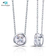 DovEggs 14K 585 White Gold Center 2ct 8mm F  Color Moissanite Pendant Necklace for Women Gold Necklace