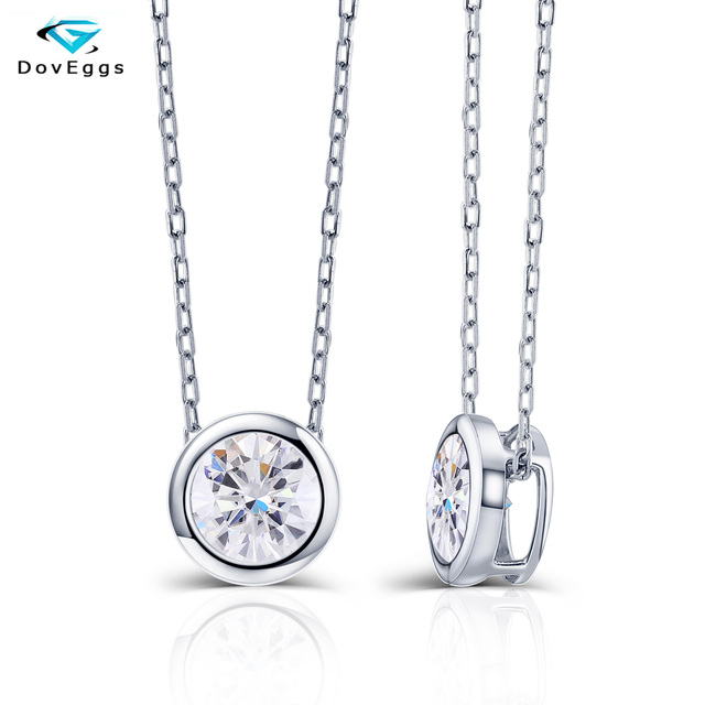 DovEggs 14K 585 White Gold Center 2ct 8mm F  Color Moissanite Pendant Necklace for Women Gold Necklace