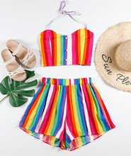 JAYCOSIN 2019 New Summer Women Suit Sexy Rainbow Striped Beading Ruched Camis Tie Dye Two-Piece Outfit Swimwear Shorts(China)
