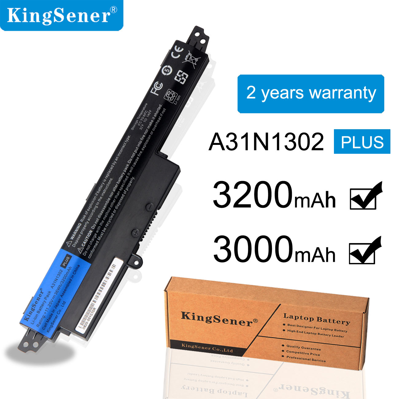 KingSener laptop battery A31N1302 A31LM9H For Asus VIVOBOOK X200CA X200MA F200CA A31LMH2 1566-6868 11.6 Series