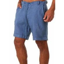 Men's Linen Shorts Men Summer Cotton Beach Short Men Brand 2021 New Wild Leisure Loose Solid Cargo Shorts Men Short Mens Casual