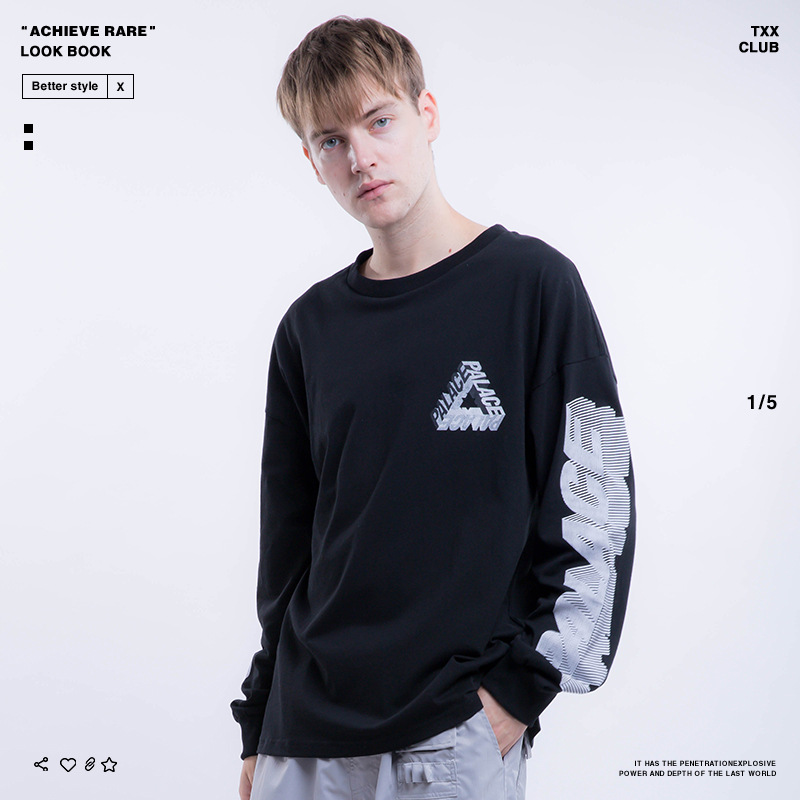 Palace Life2018 Europe And America Popular Brand Autumn And Winter Men'S Wear Triangle Sleeve Printed Lettered MEN'S Long-sleeve