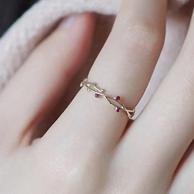 Crown of Thorns Thin Finger Band Mini Red Corundum Inlaid Twig Ring Gold Color Flower Branch Bague Women Jewelry Gift