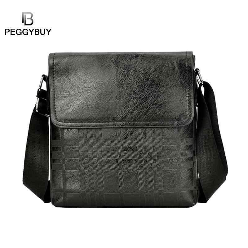 Bolsa de mensajero de cuero para hombre famosa a la moda nueva bolsa de hombro cruzado de hombre bolsos de negocios bolso de mano Casual de negocios