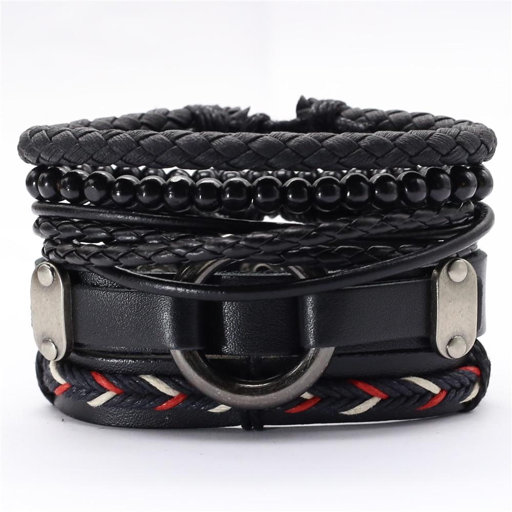 Black Taichi Feather Men Bracelets 5pcs/set Wristband Fashion Rope Wrap Cuff Bangle Leather Bracelets Women Jewelry Accessories