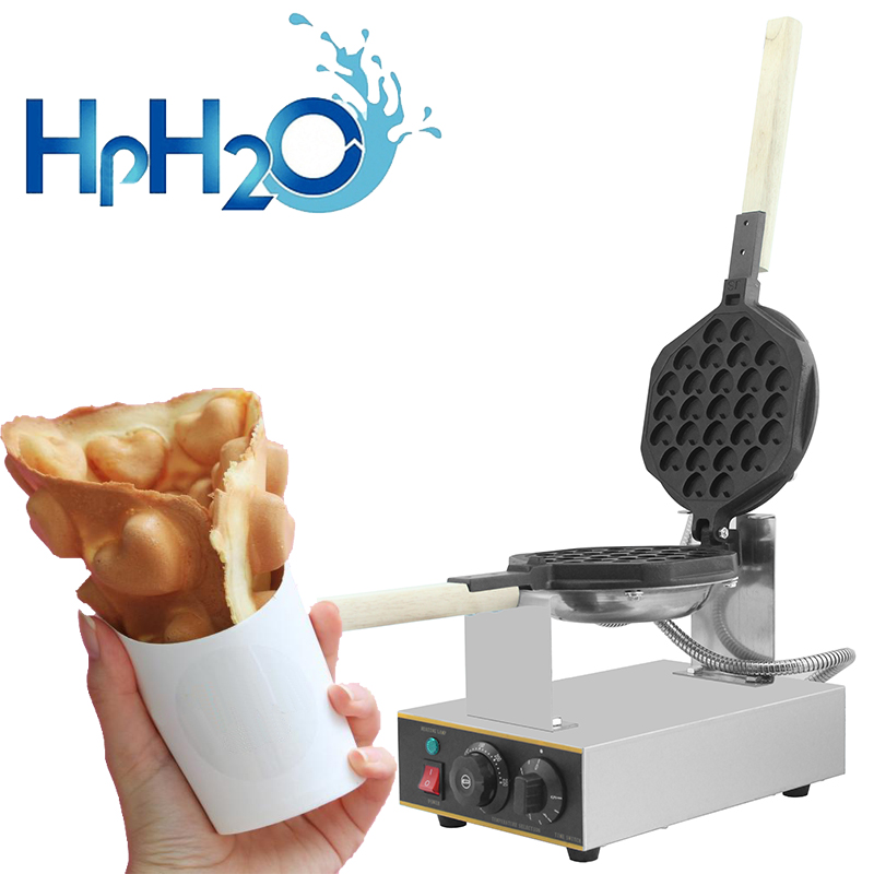 Commercial Electric Heart Shape Egg Bubble Waffle Maker Machine Hong Kong Eggettes Waffle Iron Cake Oven Bubble Waffle Machine
