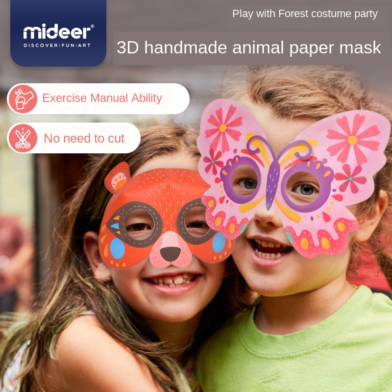 MiDeer DIY 8 Types Children Paper Masks With 3D Animals Handmade Painting Coloring Mask Party Toys Gift For Kids 5Y+