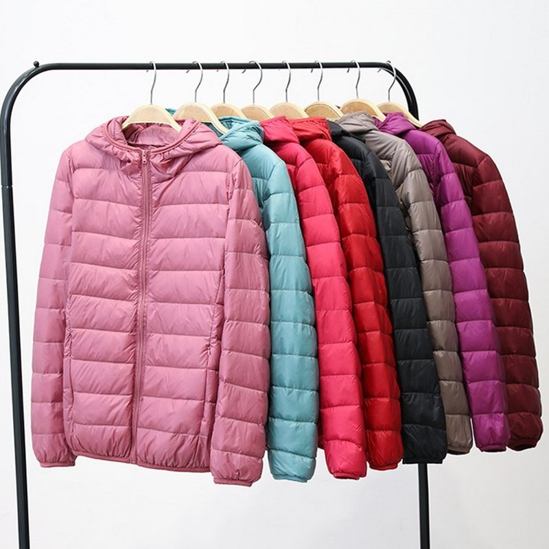 Plus Size Women Light Down Jacket Coat 90% White Duck Down Coat Lady Hooded Winter Coat Long Sleeve Warm Slim Winter Coat