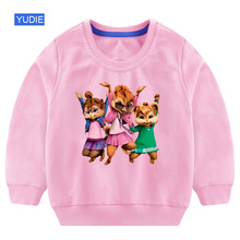 Свитшоты для девочек; толстовка с капюшоном для маленьких девочек; осенняя одежда для детей 3 лет с изображением Элвина и чипмункса; Детский свитер в Корейском стиле для девочек; осень г
