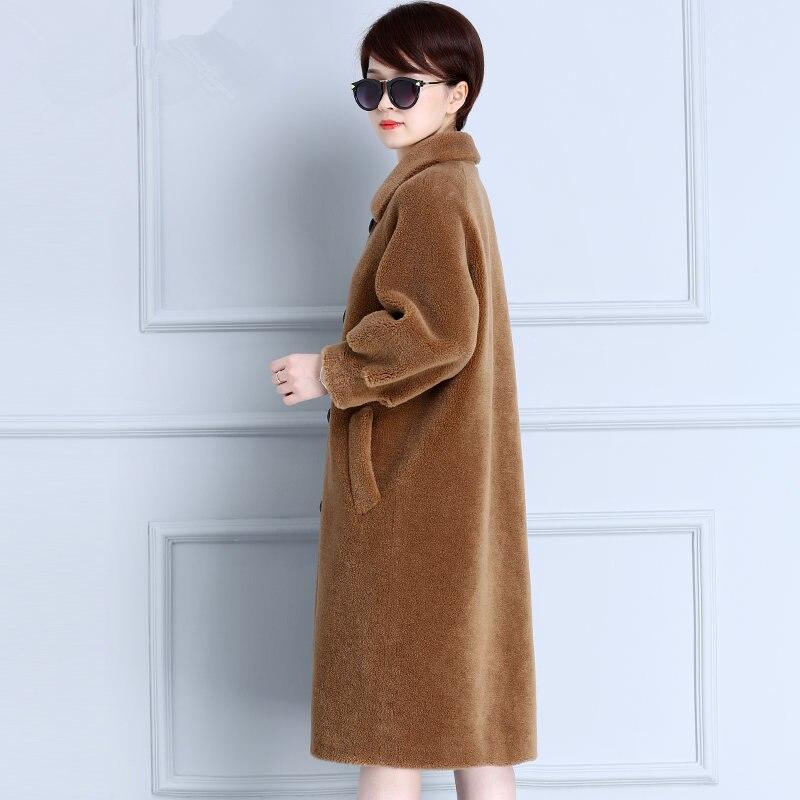 Genuine Fur Coat Women Autumn Winter Warm Thick Sheep Shearing Long Jackets Top Quality Lamb Fur Parkas Mujer MF587