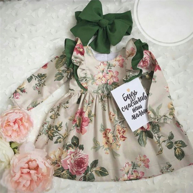 2PCS Cute Toddler Baby Girls Dress Ruffles Floral Long Sleeve Princess Dress Party Pageant Dresses Kids Clothes