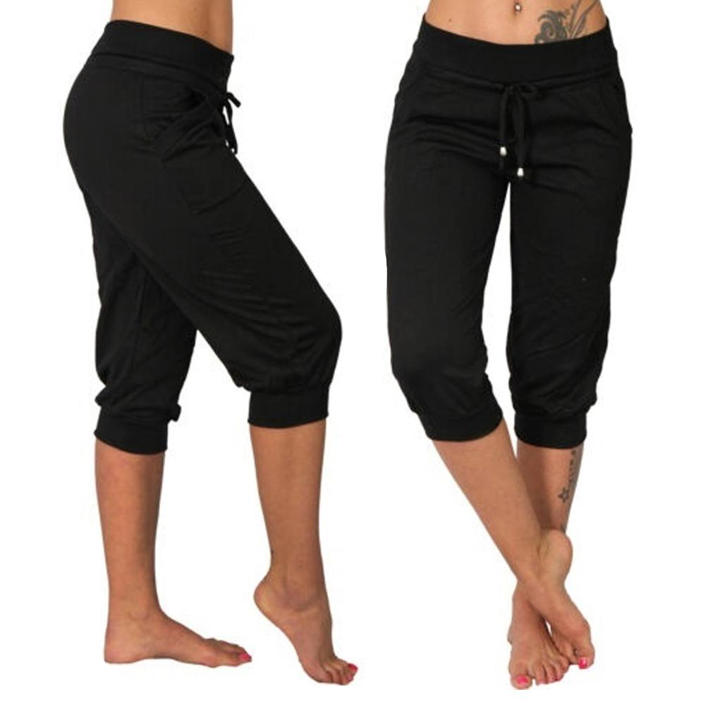 Summer Autumn Ladies 3/4 Trousers Casual Solid Color Low Rise Drawstring Pockets Sports Capri Pants Shorts