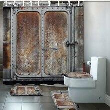 Decoración Industrial juego de cortinas de ducha Vintage contenedor ferroviario puerta de Metal impreso cortinas de baño alfombra antideslizante