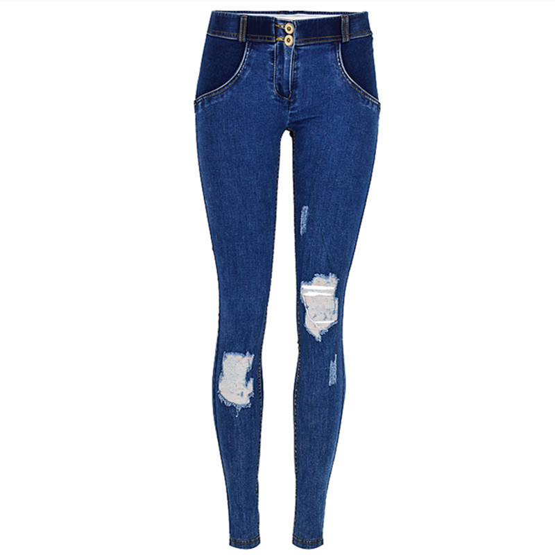 Sexy Modis Low Waist Pants Woman Peach Push Up Hip Skinny Denim Plus Size Women Boyfriend Elastic Pantalones Mujer Holes Pants