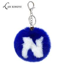 New fluffy letter hair ball keychain imitation rex rabbit key ring lady bag car alloy jewelry pendant