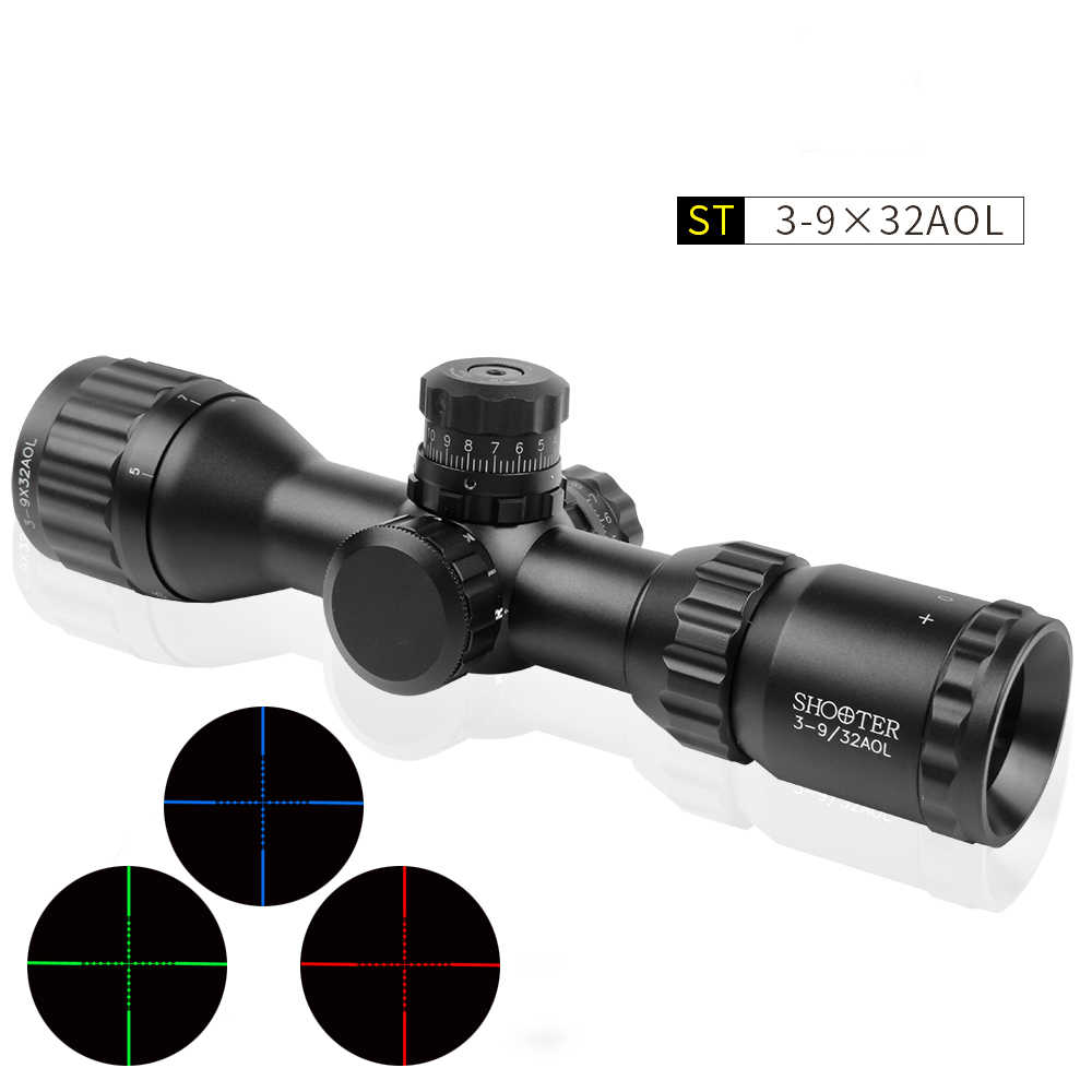 SHOOTER 3-9x32 AOL Tactical Ambiti di Caccia Puntino Rosso e Verde Mil-Dot Sight Illuminato Ottica Scope Rifle Scope