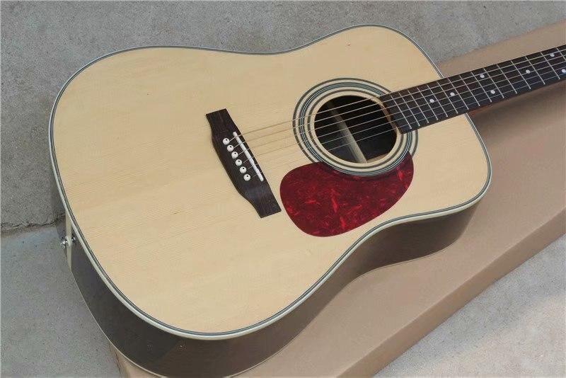 Китайский завод гитары на заказ Новая твердая ель Топ натуральная Акустическая гитара D Тип 28 модель 41