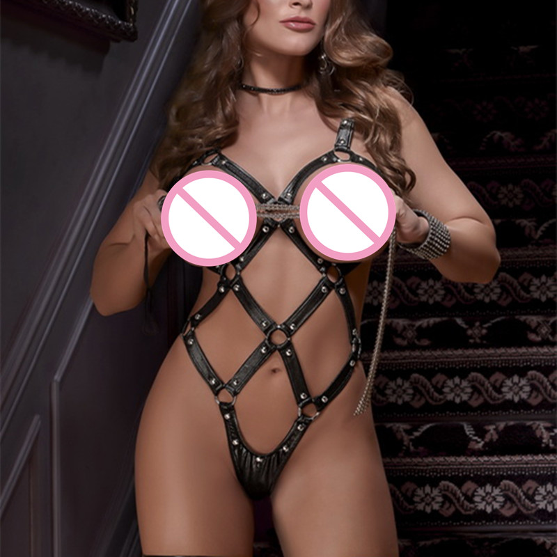 Vinyl Rivet Cupless Crotchless Teddy Erotic Lingerie Catsuit Open Bra Hollow Out Bondage Body Suit Leather Sexy Bodysuits