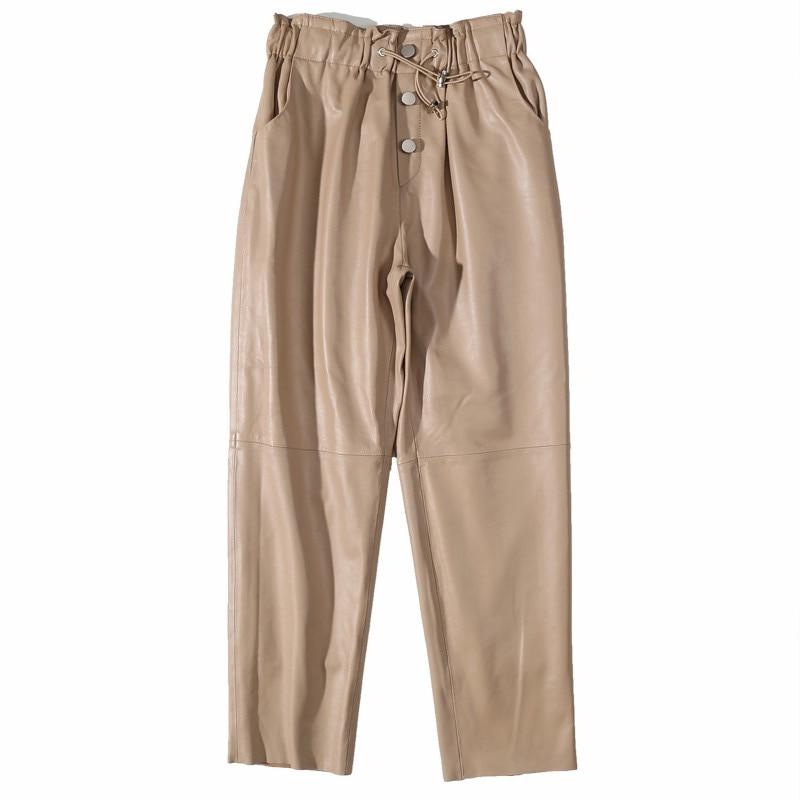 Winter Pants Women 2019 High Waist Genuine Leahter Harem Pants Plus Size Streetwear Trousers Women Black And Khaki Pants