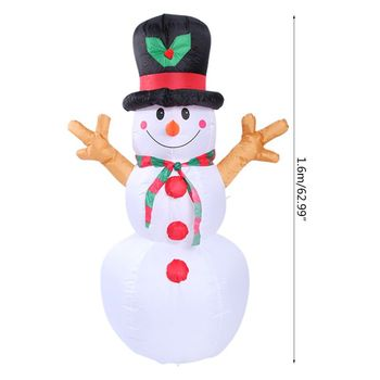1.6M Inflatable Film Christmas Snowman Props Christmas Home Garden Party Decor 72XF