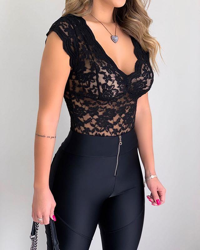 Hirigin Lace Blouses Shirts Sexy Club Female Acrylic Shirts Deep V Summer Fashon Tops Lace Sexy V Neck Sleeveless Fashon Top 5