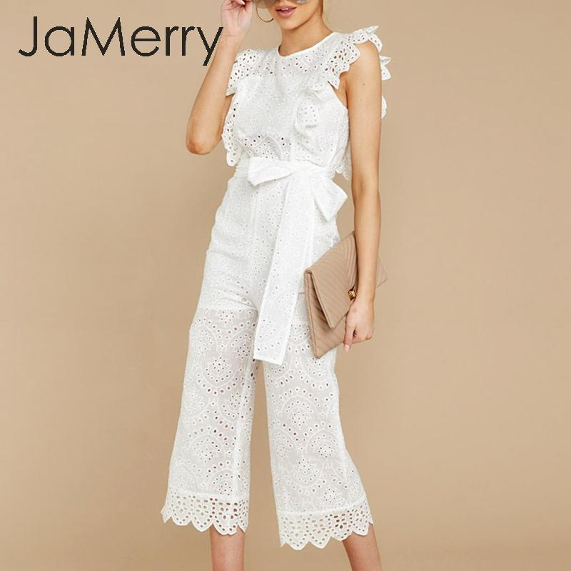 JaMerry Hollow Out Ruffled Jumpsuit Women Romper Bow Tie High Waist Cotton Embroidery Female Jumpsuit Casual Ladies Jumpsuits