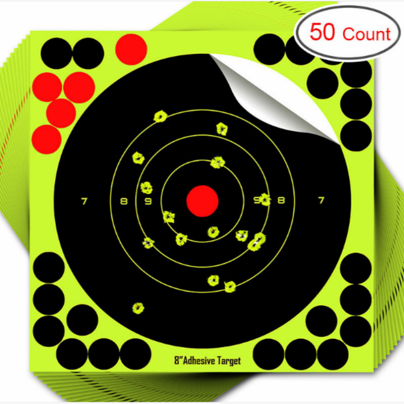 Targets 8 Inch Reactive Splatter Self Adhesive Shooting Targets Bright Fluorescent Yellow Upon Impact-Gun-Airsoft-BB Gun-Pellet