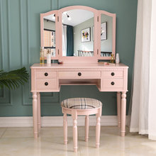 【FCH】Dresser Makeup Desk Three-Fold Square Mirror Drawers Roman Column Table/Stool Fluorescent Pink Dressers for bedroom