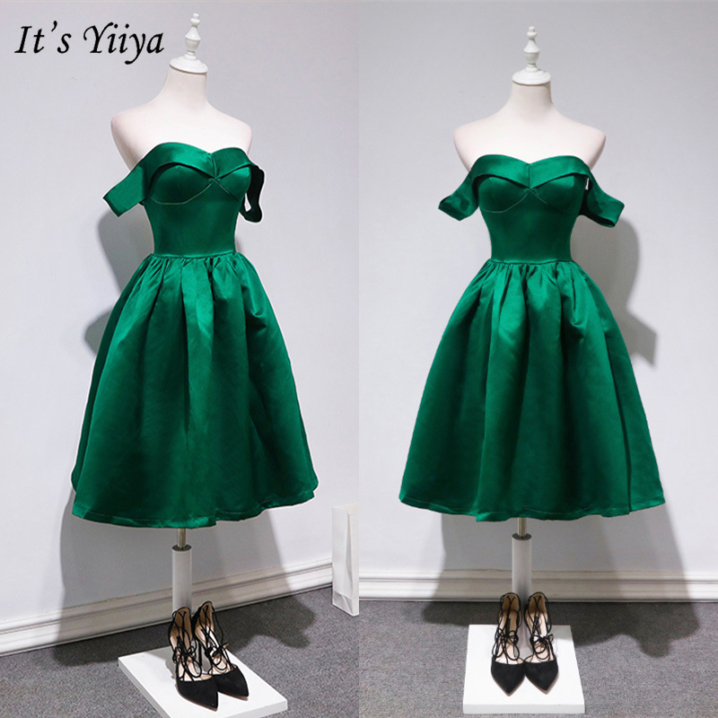 It's YiiYa 2019 Cocktail Dresses Green Sleeveless Strapless Short Dress Fashion Designer Zipper Vintage Party Night Dress LX694