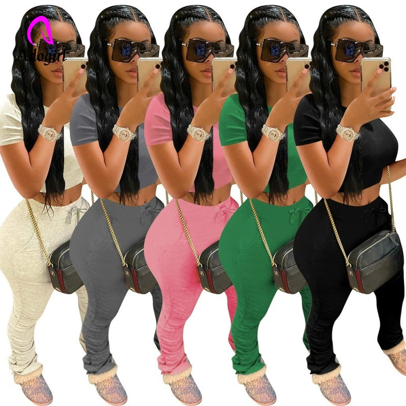 Tracksuits Women Pants Shirt Joggers Short-Sleeve Crop-Top Bell-Bottom Stacked Two-Piece-Set