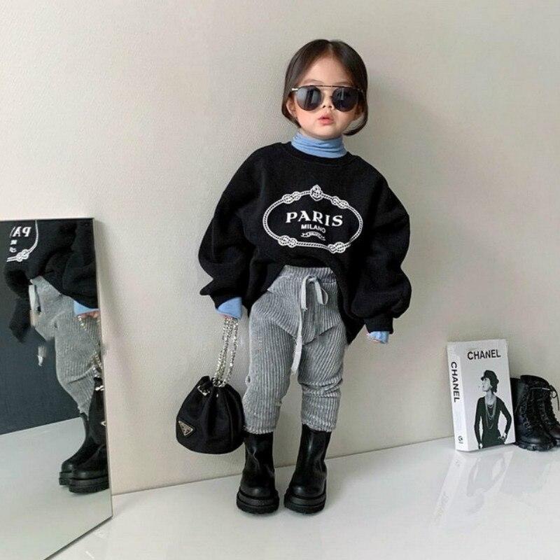 2021 Autumn Winter New Arrival Girls Long Sleeve Letter T Shirt Kids Warm Fleece Tops  Kids Clothes 1