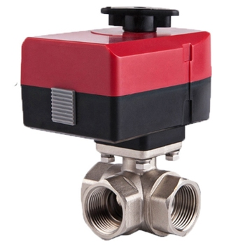 Micro-Three-Way Electric Ball Valve L-Type DN32 AC220V Three-Wire Two-Control Hand-Integrated Electric Valve