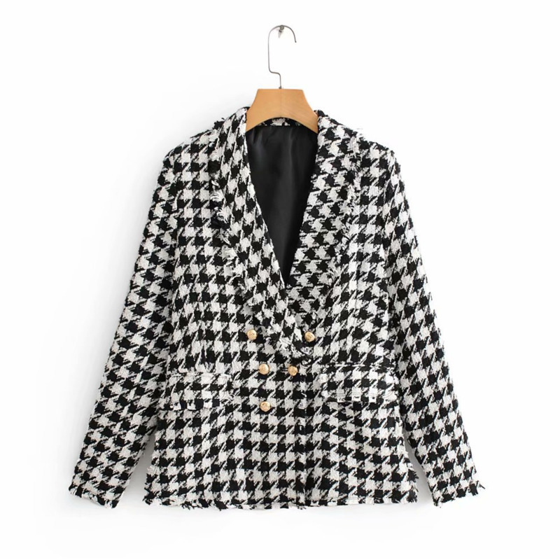 Women Autumn Fashion 2019 Houndstooth Za Jacket 2019 Black&White Vintage V-neck Tweed Streetwear Outwear Jackets for women