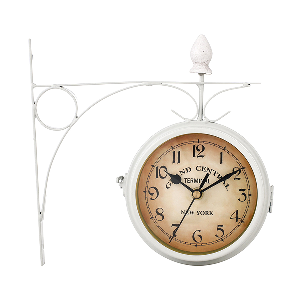 Coffee Bar Hanging Outdoor Mount Retro European Style Metal Vintage Wall Clock Battery Powered Station Double Sided Decoration