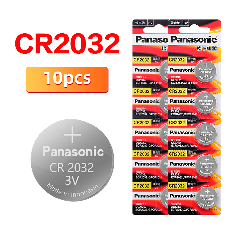 PANASONIC cr2032 10pcs Button Cell Batteries 3V Coin Lithium clocks watches Remote digital voice recorders cr2032(China)
