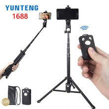 Yunteng 1388 1688 51in Selfie Stick with Wireless Charging Bluetooth Remote Portable Tripod Mount for Smartphone Live Stream