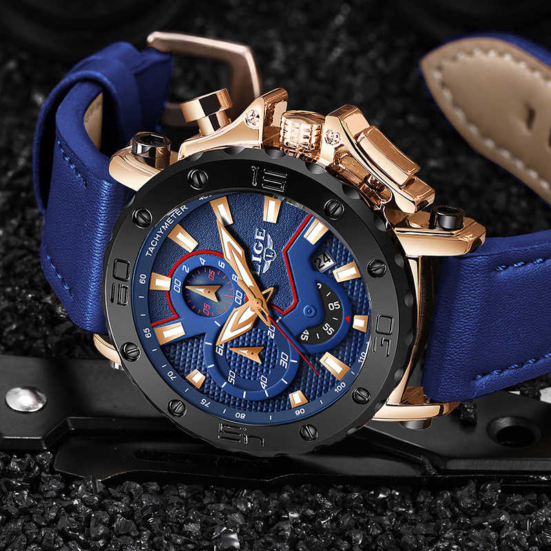 2019 LIGE Blue Watch Luxury Brand Men Analog Leather Sport Watches Mens Army Military Watch Date Quartz Clock Relogio Masculino