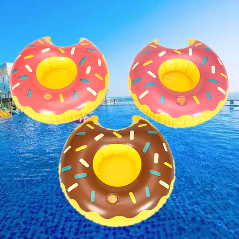 Cute Do-nut Cup Inflatable Holder Floating Coaster Pool Drink Water Toy Beach Party