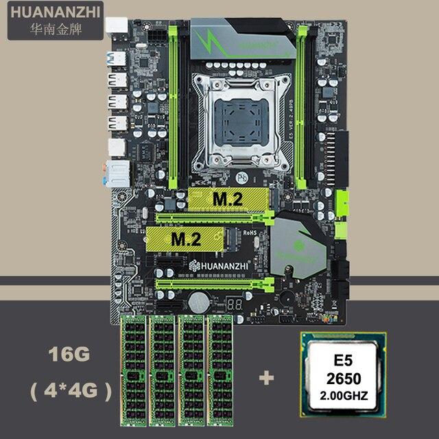 Десктопная материнская плата HUANANZHI X79 с двумя слотами M.2 SSD ЦП Intel Xeon E5 2650 модули памяти крупного бренда 16 Гб (4*4 Гб) REG ECC Combo