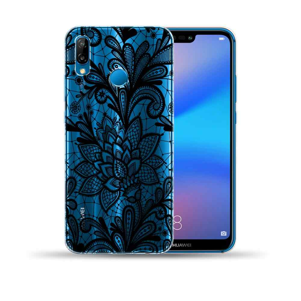 Vintage Floral Lace Mandala ดอกไม้นุ่ม TPU สำหรับ Huawei P10 P20 P30 Lite Pro P8 Lite 2017 Nova 5I 4 3I 3 Y9 2018 2019